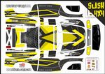 Yellow Carbon GT themed vinyl SKIN Kit To Fit Traxxas Slash 4x4 Short Course Truck